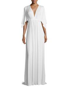 Long Jersey Caftan Dress, White - Rachel Pally