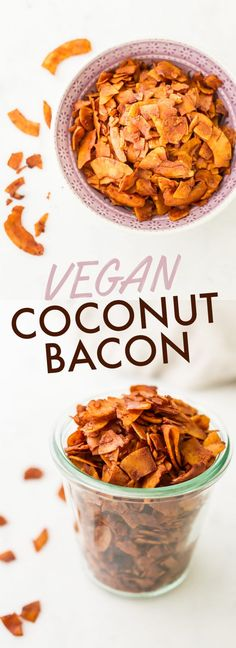 to make vegan coconut bacon that's smoky, sweet and crunchy just like regular bacon. It's perfect for snacking or using in recipes that call for bacon like BLTs or chopped salads! Coconut Recipes, Delicious Vegan Recipes, Good Healthy Recipes, Raw Food Recipes, Vegetarian Recipes, Cooking Recipes, Healthy Snacks, Cooking Tips, Snack Recipes