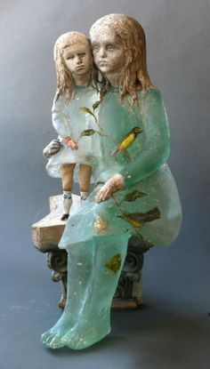 """Made by: Christina Bothwell , """"Birds""""  - cast glass, raku clay, oil paints, and found objects. New work 2-2014"""