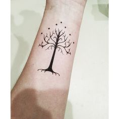 Lord of the Rings - White Tree of Gondor - Temporary Tattoo ($5) ❤ liked on Polyvore featuring accessories, body art and tattoos