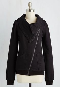 Brunch on the Patio Jacket in Black - Knit, Black, Solid, Casual, Long Sleeve, Variation, Exposed zipper, Pockets, Black, Winter, Fall, Better, Collared, Mid-length, Tis the Season Sale, Cozy2015, Exclusives, Lounge, 1