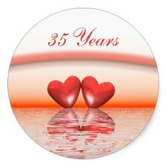35th Anniversary Coral Hearts Round Stickers