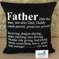 Father Fun Dictionary Definition Personalised Cushion