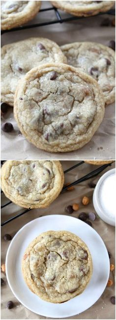 Salted Caramel Chocolate Chip Cookie Recipe on twopeasandtheirpod.com The BEST cookies! #cookies