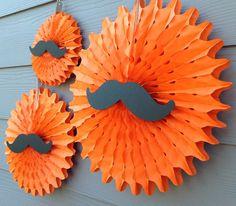3 Pin Wheels/Paper Fan/Party Fan Decor - Mustache Bash Little Man Baby Shower - Orange w/ Mustache embellishments - Party Packs Available on Etsy, $24.00