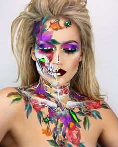 WEBSTA @the_wigs_and_makeup_manager Flower Skull 2 🥀💐💜☠️ My 2nd skull makeup design in my series of botanical and floral skulls. Products Used: EYES 👁 @hudabeauty Electric Obsessions Palette, @juviasplace Masquerade Palette @fentybeauty Holographic Palette Flase Lashes @eldorafalseeyelashes H178 🖤 BROWS: @makeupforeverofficial Aqua Brow in No 10, 30