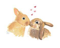 Rabbit Watercolor True Love Bunny Art Original by WaterInMyPaint, $40.00
