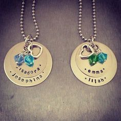 Metal stamped necklace with Swarovski by TuTuCuteStamped on Etsy, $25.00