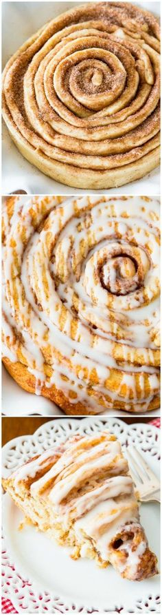How to Make a Giant Cinnamon Roll Cake - soft, fluffy, and extra large! Get the recipe at sallysbakingaddiction.com