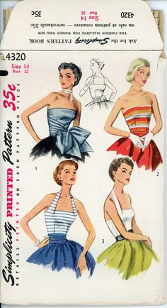 1950s Evening Halter Top Pattern Simplicity 4320 Misses Strapless or Halter Fitted Bodice and Sash Bust 32 Womens Vintage Sewing Pattern.