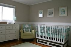 Yes to the fun rocker, Ikea dresser, and simple crib. View of the baby's traditional/transitional nursery.  The colors are teal, aqua blue and avocado green.