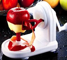 Spin N' Peel Apple Peeler. Easiest way to peel apples ever offered. No longer struggle shaving apple skin with one handed apple peeler.