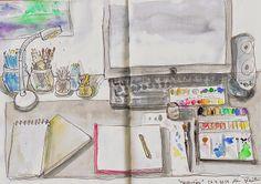 Paper, Paint, Pencils & Pens!: Art Supplies, My desk, by Mia
