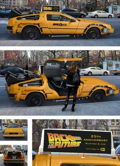 "This upgraded NYC taxi (or downgraded flying DeLorean) ""exists nowhere outside my photoshop files and the jpgs that are circulating around the internet these days,"" says designer Mike Lubrano. Back To The Future, Future Car, Megane 3 Rs, Dmc Delorean, Futuristic Cars, Car In The World, Amazing Cars, Taxi, Exotic Cars"