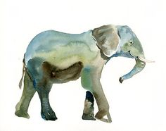 ELEPHANT  Original watercolor painting 10X8inch by dimdi on Etsy, $25.00