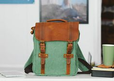 Craft backpack canvas backpack leather backpack women