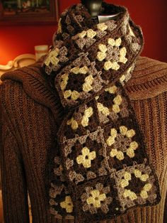 Chocolate Granny Square Scarf