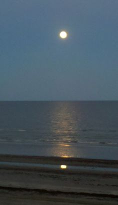 Reflection of the moon on the water, Galveston, Texas.
