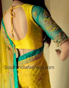 Designer Saree and Blouse by Varuni Gopen Collections – Yellow benaras and net half and half saree paired up with yellow sea green designer blouse with elbow length embellished net sleeves. For price Choli Designs, Blouse Designs Silk, Saree Blouse Patterns, Bridal Blouse Designs, Saris, Sari Bluse, Indian Blouse, Indian Sarees, Blouse Models