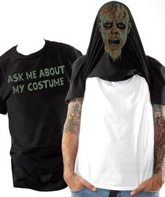 Halloween Costume Flip Tee - Zombie Mask Flip Up Shirt - Sizes small - 3XL - Halloween Costume for Adults - Funny Costume