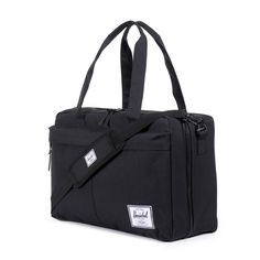 herschel: bowen travel duffle in black. includes two mesh compartments and added neoprene for durability.