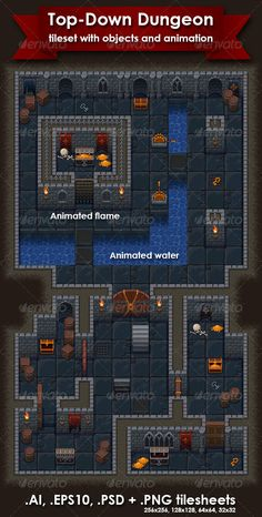 Top-Down Roguelike Dungeon Crawl RPG #Tileset - Tilesets #Game #Assets Download here: https://graphicriver.net/item/topdown-roguelike-dungeon-crawl-rpg-tileset/8754069?ref=alena994