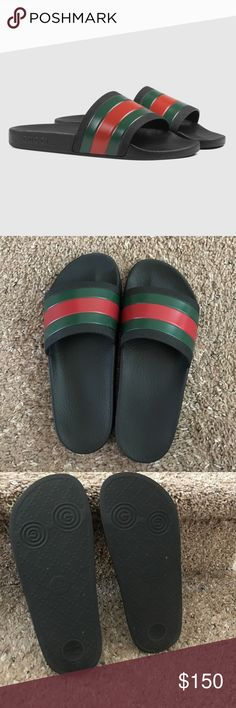 Authentic Gucci Rubber Slides Gently used; worn once or twice. With box and dust bag. Men's size 5 also fits women's size 7. Price is firm. Gucci Shoes Loafers & Slip-Ons