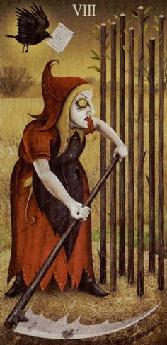 Eight of Wands - Fast news...She reminds me of Baba Yaga for some reason.