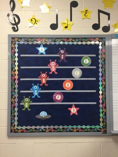 Staff Invaders - Space Themed Music Bulletin Board Set - Perfect for your elementary music room. Get your bulletin boards ready for back to school: Kindergarten Classroom Decor, Diy Classroom Decorations, Music Classroom, Classroom Themes, Music Teachers, Classroom Door, Teaching Music, Music Bulletin Boards, Music School