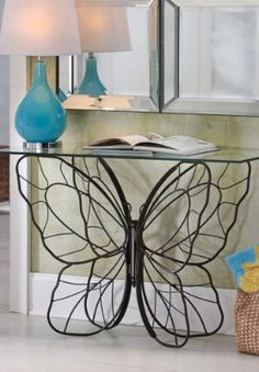 Monarch Butterfly Console Table from Grandin Road. Sweet joy to say I own this awesome beautiful table ~ Take a look at Blackbutterfly's Home Fashions . Butterfly Table, Butterfly Decorations, Monarch Butterfly, Butterfly Room, Simple Butterfly, Balustrade Inox, Home Interior, Interior Design, Iron Furniture