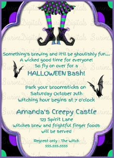 Halloween Birthday bash Invitation/ Costume party Invite/ Halloween themed Party…