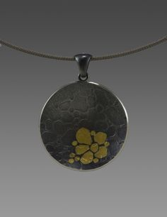 Pebble Flower Necklace  sterling silver, gold by Yuyen Chang