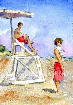 Wellfleet Cape Cod watercolor PRINT Lifeguards on by Miriam Schulman, $28.00  Two lifeguards in bright red bathing suits stare out into the Atlantic ocean in this Cape Cod painting. The sky is a beautiful blue and the beach is in Wellfleet, Cape Cod during a hazy day in August. The sand dunes are behind them. This seascape is a print of an original watercolor painting that is in a private collection. Landscapes make the perfect wall art for your home decor