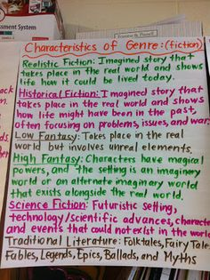 Middle School Teacher to Literacy Coach: Genre Knowledge during Guided Reading with Fiction & Non-fiction Anchor Charts Middle School Reading, Middle School English, Middle School Classroom, High School, Teaching Reading, Guided Reading, Teaching Ideas, Reading Lessons, Reading Strategies