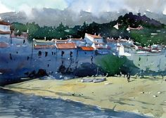 """Landscape Watercolour of Cadeques Spain, 15"""" x 11"""" on Saunders Waterford Rough Paper 140 lbs     The bay in the pretty seaside town of ..."""