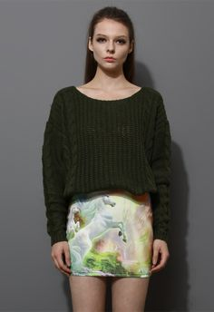 Classic Cable Knit Sweater in Olive