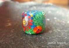jasmin french ' gorilla girl ' BIG HOLE lampwork bead ooak