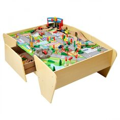Plums Wooden Train and Track Activity Table is packed with imaginative play to keep little ones occupied for hours. Wooden Play Kitchen, Train Table, Wooden Drawers, Play Table, Wooden Train, Buy Toys, Wooden Dollhouse, Train Tracks, Imaginative Play