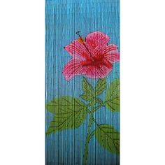 Red Hibiscus is a 90 x 200cm beaded door curtain featuring a gorgeous big red hibiscus flower with green foliage against a blue background.