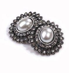 Stud Earrings 2016 Fashion Big Round Retro Pearl Rhinestones vintage jewelry Earrings for Women from india bohemian
