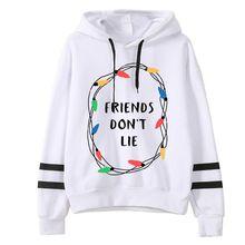 2018 Lente Vrouwen Stranger Dingen Print Hoodies kawaii harajuku Vrouwelijke Lange Mouw Hooded Vrienden dont lie Print Sweatshirts(China)