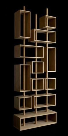 Unique and Creative Contemporary Kao Shelving for Home Accessories by Drugeot Labo – 3 Mats Wood Furniture, Modern Furniture, Furniture Design, Bookshelf Design, Bookshelves, Deco Design, Wood Design, Furniture Inspiration, Home Deco