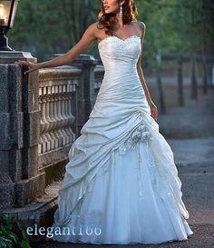 2014 Frete Grátis A linha Strapless vestido de casamento feitas à mão flor Applique tafetá barato 79.00