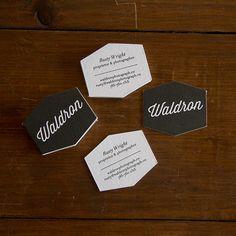 Waldron die cut letterpress business cards