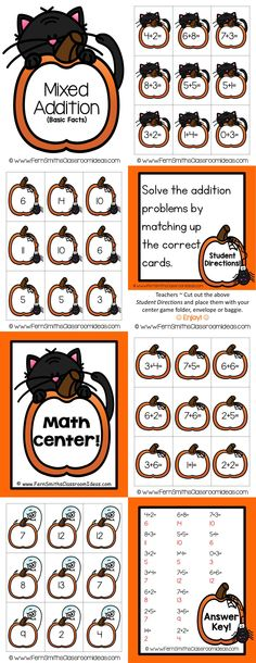 Quick and Easy to Prep Halloween - Mixed Addition Basic Facts Center Game #tpt #Halloween #FernSmithsClassroomIdeas $paid