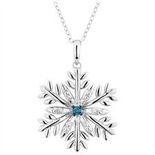 Sterling Silver Blue Diamond Snowflake Pendant Necklace with Chain - $29.99