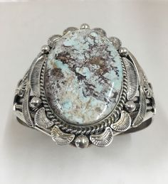 Native American Navajo White Dry Creek Turquoise Cuff *M. Spencer*