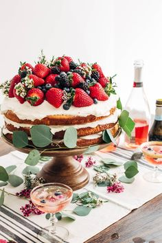 Easy DIY Naked Berry Cake. Serve with Champagne!