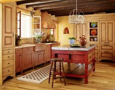 Kitchen Cabinets with Furniture-Style Flair - Traditional Home® Island envy Country Kitchen, New Kitchen, Kitchen Decor, Rustic Kitchen, Colonial Kitchen, Kitchen Stuff, Warm Kitchen, Pavillion, Sweet Home