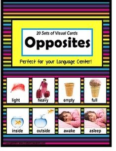 Opposites: This set of 20 pairs of opposite cards can be used for your Language or Reading Center, for your Pocket Chart, or to supplement your reading lesson. Clear, crisp pictures provide visual representation of each set of opposites. Using pictures that are familiar to children, finding the opposites will bring lots of fun to your lesson and keep your students on task! JUST PRINT, CUT CARDS AND ENJOY!